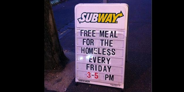 A subway in Australia that gives food to the homeless (Jaxity via Reddit)